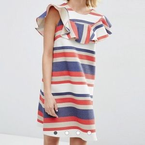 ASOS Natural Fibre Frill Front Shift Dress